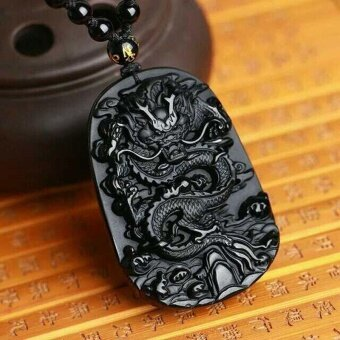 Harga Natural Obsidian Fashion Dragon Pendant Necklace Men Lucky Jewelry