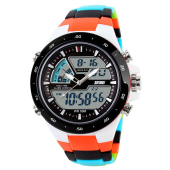 Harga Skmei Fashion Men's Quartz Watch Analog-Digital Led Sports Waterproof Watch 1016 - Orange