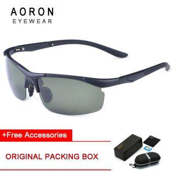 Harga AORON Brand Men's Fashion Accessories Classic Design Sunglasses Anti-UV Protect Polarized Glasses (Black Glossy Frame+Green Lens)[ Buy 1 Get 1 Freebie ]