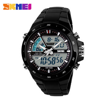 Harga SKMEI 1016 Resin Strap Waterproof Fashion Casual Business Sport Men Male Digital Quartz Wrist Watch (Date/Calendar/Alarm/Stopwatch/Light/Shock Resistant) - Black