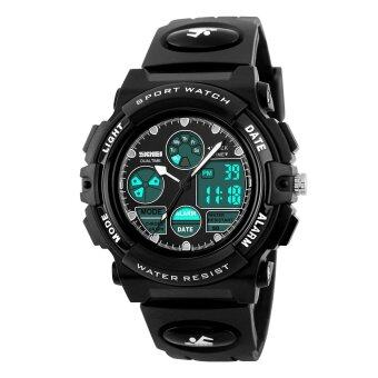 Harga SKMEI Children's Watches Fashion Sport Waterproof Wristwatches Dual Time LED Analog Digital Quartz Watch For Boys Kids Original 1163 (Black)