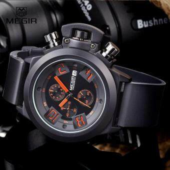 Harga MEGIR new brand silicone band analog Chronograph stop watch military army styligh mens watches top brand luxury men male clock