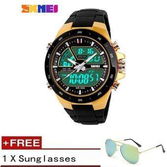 Harga SKMEI Men Sports Watches 50m Waterproof Fashion Casual Quartz Watch Digital & Analog Multifunctional Military Wristwatches