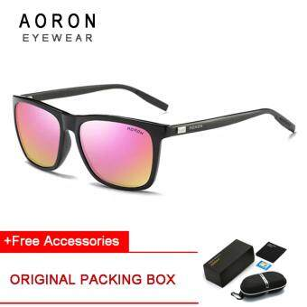 Harga [Buy 1 Get 1 Freebie] AORON Men's Fashion Accessories Trendy Sunglasses UV400 Polarized Sunglasses AR387(Black Frame+Pink Lens)