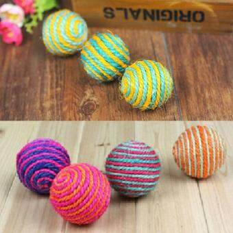 Harga 1x Cat Kitten Sisal Rope Weave Ball Teaser Play Chewing Rattle Scratch Catch Toy