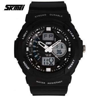 Harga SKMEI 0955 Men's LED Analog Digital Alarm Sport Watch (Black)