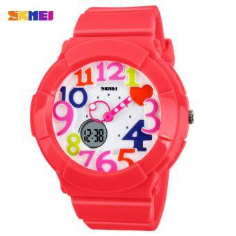 Harga SKMEI 1020 Kid's Waterproof Analog + Digital Wrist Watch (Red Colorful)