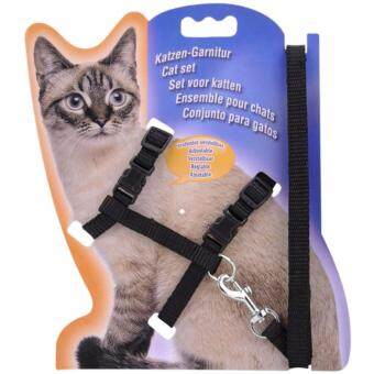 Harga Pet Safety Adjustable Cat Kitten Nylon Lead Leash Harnesses Set Safety Belt Rope (Black)