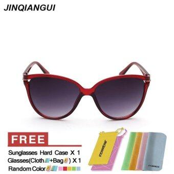 Harga JINQIANGUI Sunglasses Women Cat Eye Retro Plastic Frame Sun Glasses WineRed Color Eyewear Brand Designer UV400