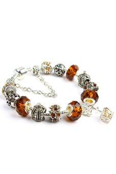 Harga Women Crown Charms Beads Bracelets Brown