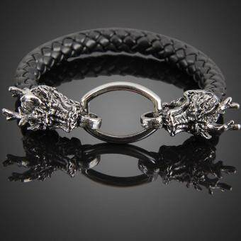 Harga Fashion Dragon Ring Man Braid Bracelet Leather Band Bangle Black