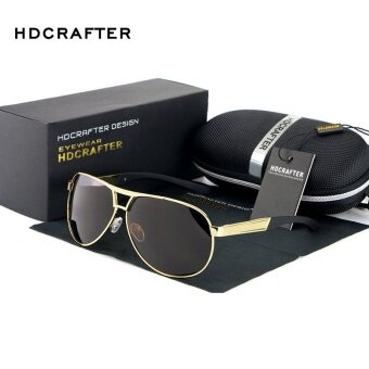 Harga JINQIANGUI Polarized Sunglasses Men Pilot Gold Color Polaroid Lens Titanium Frame Driver Sunglasses Brand Design