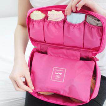 Harga GoTravel 7003 Korean Multipurpose Travel Underwear Organizers Bag (Dark Pink)