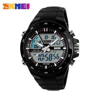 Harga Skmei Fashion Men's Quartz Watch Analog-Digital Led Sports Waterproof Watch 1016 - Black