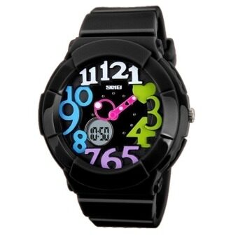 Harga SKMEI 1020 Kids Waterproof Analog + Digital Wrist Watch - Blackcolourful