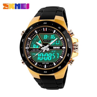 Harga SKMEI 1016 Resin Strap Waterproof Fashion Casual Business Sport Men Male Digital Quartz Wrist Watch (Date/Calendar/Alarm/Stopwatch/Light/Shock Resistant) - Yellow