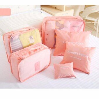 Harga GoTravel 7005 Korean Multifunction Set 6 in 1 Clothes Storage Travel Luggage Organizer Bag (Pink)