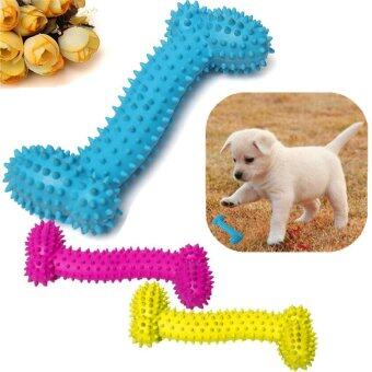 Harga Pet Chew Toy Soft Small Rubber Bone Squeaky Toy Colorful Dot For Puppy Dog Cat