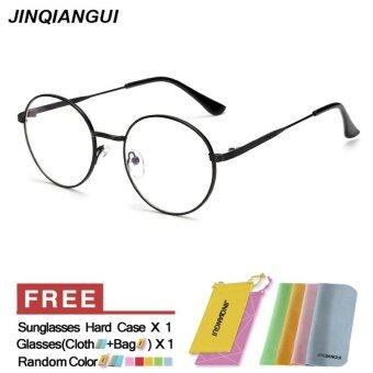Harga JINQIANGUI Fashion Glasses Frame Vintage Retro Round Glasses Black Frame Glasses Titanium Frames Plain for Myopia Men Eyeglasses Optical Frame Glasses