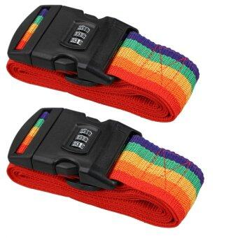 Harga Combo Deal (Twin Pack) Luggage Strap Multipurpose Multifunction Travel Luggage Strap With ABS Lock ( Rainbow Colour )