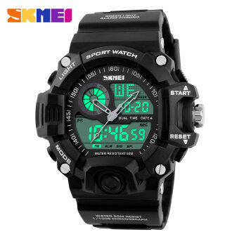 Harga Men' Sports Watches SKMEI 1029 Waterproof Fashion Casual Quartz Watch Digita Analog Display Military Multifunctional Wristwatches - Black