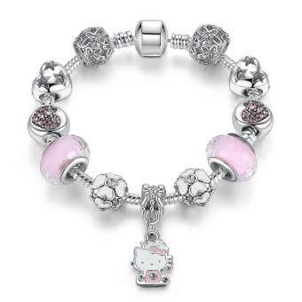 Harga Jochebed Silver Plated Lovely Pink Kitty European Charm Beads Bracelet & Bangle (Pink-Kitty)