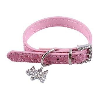 Harga Adjustable Rhinestone Puppy Dogs Collar Buckle PU Leather Cats Neck Strap (Dog Pendant Pink XS)