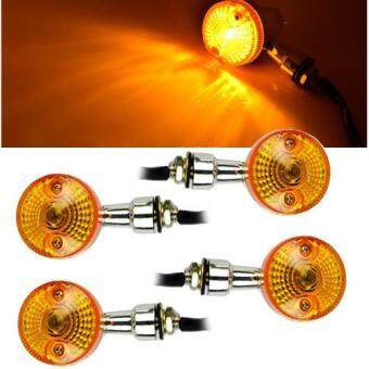 Harga 4pcs Motorcycle Turn Signal Indicators Chrome Lights Bulb Lamp Amber Universal