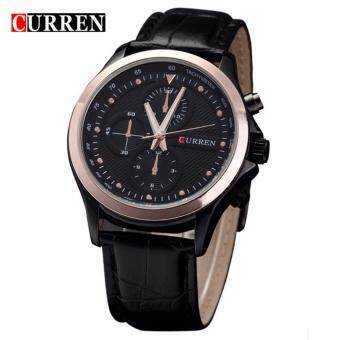 Harga Curren 8138 Leather Strap Watch (Gold Black)