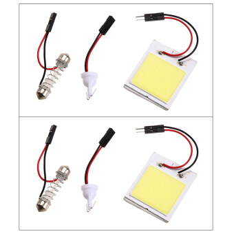 Harga 2pcs Xenon HID White 48 COB LED Dome Map Light Bulb Car Interior Panel Lamp (Intl)