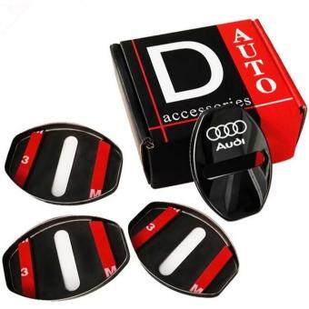Harga 4pcs/lot New Arrival Stainless Steel Door Lock Decoration Cover Door Lock Cover Sticker For A1 A4 A5 A7 A8 Q3 AUDI A3 Q5 Car Styling