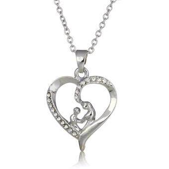 "Harga Hequ 100% Real Pure Sterling Silver ""Mother and Child Hand In Hand"" Pendant Necklace Gift for Mother Day"