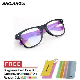 Harga JINQIANGUI Fashion Square Glasses Purple Frame Glasses Plastic Frames Plain for Myopia Men Eyeglasses Optical Frame Glasses