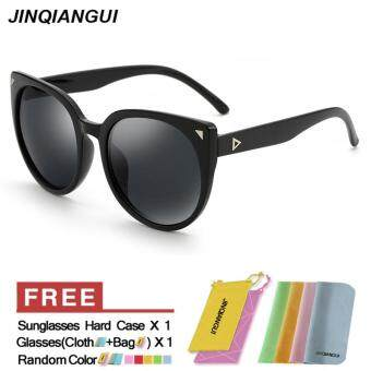 Harga JINQIANGUI Sunglasses Women Cat Eye Retro Grey Color Polaroid Lens Plastic Frame Driver Sunglasses Brand Design