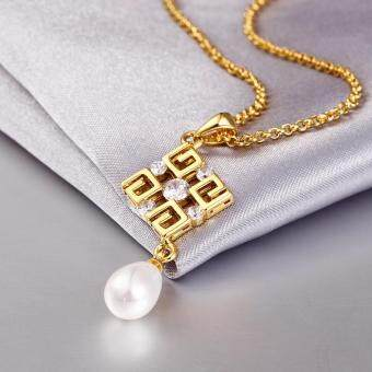 Harga Unique Fantastic Pearl Necklace Classic Lady's Pendant Gold Plated Attitude Elegant Fashion