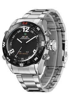Harga Weide WH2310 Men's Military Dual Time LED Display Stainless steel Watch - Silver Black