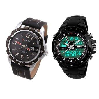 Harga Curren 8104 Black PU Leather Quartz Watch + SKMEI 1016 Men's Dual Time Display LED Black Rubber Strap Watch (Black)