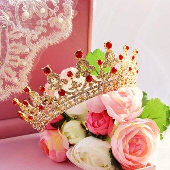 Harga Luxury Bridal Crystal Tiara Crowns Queen Pageant Headband Wedding Hair Accessory Gold&Red