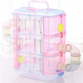 Harga Juguetes Jaula Conejo Transparent Diy Hamster Cage,multi-layer Pet Cage Pp Material Traveling Portable Cages Suppliesguinea Pig #L32*W21*H55CM