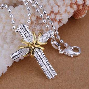 Harga Silver and Gold Plated Cross Pendant Necklace