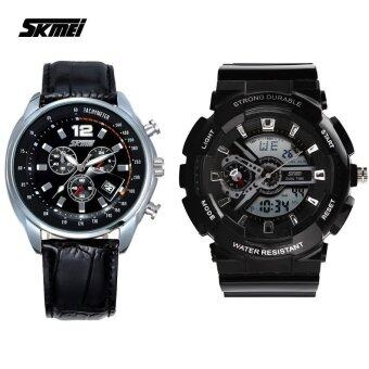 Harga SKMEI 0929 Men's LED Analog Digital Alarm Stopwatch Wristwatch (Black)+ SKMEI 6852 Men's Quartz Calendar Leather Strap Watch (Full Black)