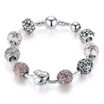 Harga Jochebed Silver Plated Lovely Pink Love European Glass Beads Charm Bracelet & Bangle (Antique-Pink-Love)