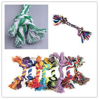Harga Funny Puppy Pet Dog Chew Cotton Braided Rope 2 Knot Toy Dental Chew Pet