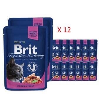 Harga Brit Premium Cat Pouch 100g  - Salmon & Trout x 12 packs