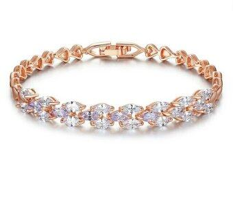 Harga Jochebed AAA Cubin Zirconia 18k Rose Gold Plated Chain Link Bangle Bracelet (Plant-Rose Gold)