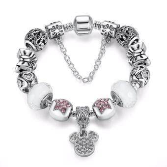Harga Jochebed Silver Plated Lovely Micky European Charm Beads Bracelet & Bangle (Silver Micky)