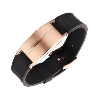 Harga Moocare Unisex Adult Rose Gold Golf Sports Mangetic Bracelets Silicone Rubber Energy Balance Wristbands