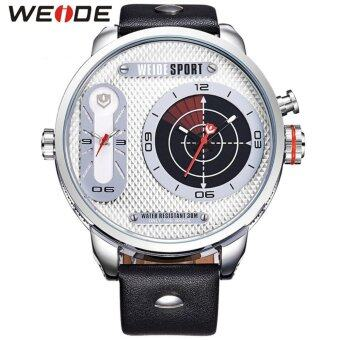Harga Weide WH3409 Men's Military Oversize 2 Time Zones Display Quartz Sports Leather Watch - Silver White