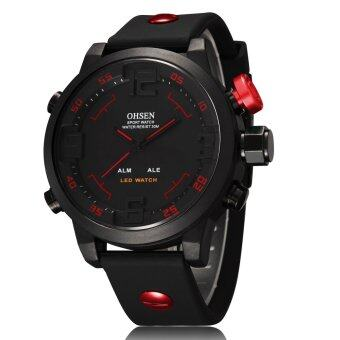 Harga OHSEN Men Waterproof Military Sport Analog Digital LED Alarm Date Week Quartz Silicone Wrist Watch (Red)