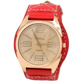 Harga Geneva 632974 Watches Women Faux Leather Strap - Red